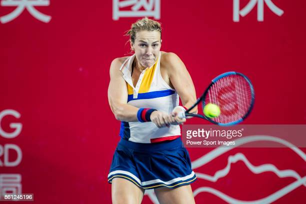 Anastasia Pavlyuchenkova of Russia hits a return during her women's singles semifinal match of the Prudential Hong Kong Tennis Open 2017 between...