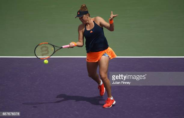 Anastasia Pavlyuchenkova of Russia in action against Bethanie MattekSands of USA at Crandon Park Tennis Center on March 25 2017 in Key Biscayne...
