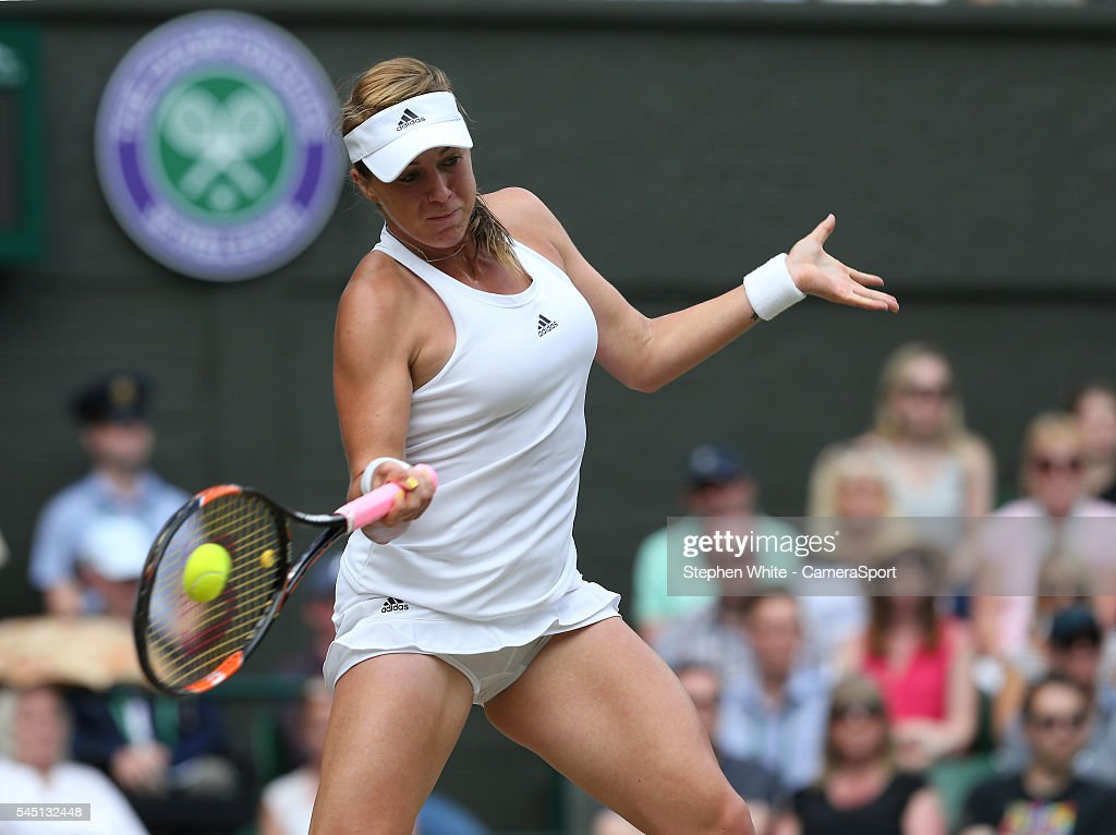 Anastasia Pavlyuchenkova of Russia in action during her Ladies' Singles QuarterFinal match against Serena Williams of USA on day eight of the...