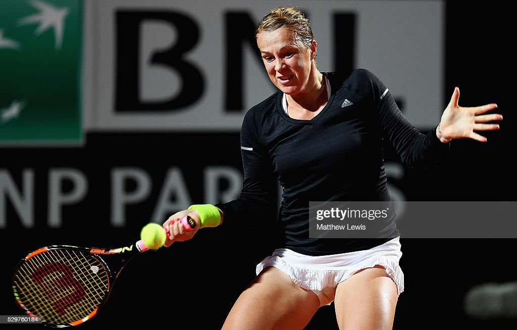 Anastasia Pavlyuchenkova of Russia in action during her match against Ana Ivanovic of Serbia during day two of The Internazionali BNL d'Italia 2016...