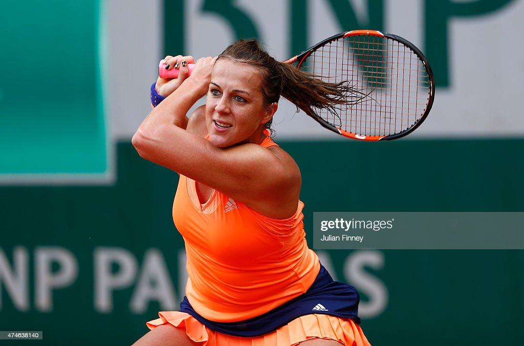 Anastasia Pavlyuchenkova of Russia in action in her Women's Singles match against Lucie Safarova of Czech Repbulic on day one of the 2015 French Open...