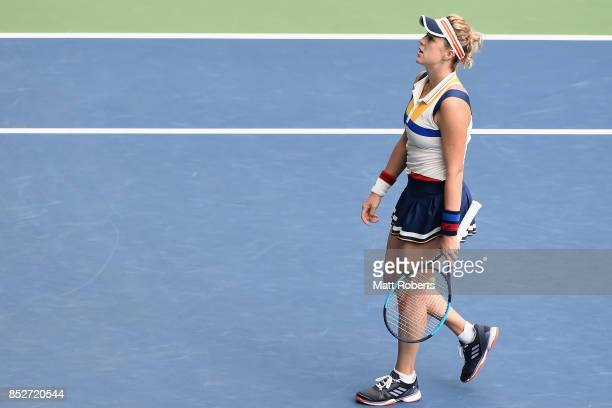 Anastasia Pavlyuchenkova of Russia looks dejected against Caroline Wozniacki of Denmark during the women's singles final match on day seven of the...