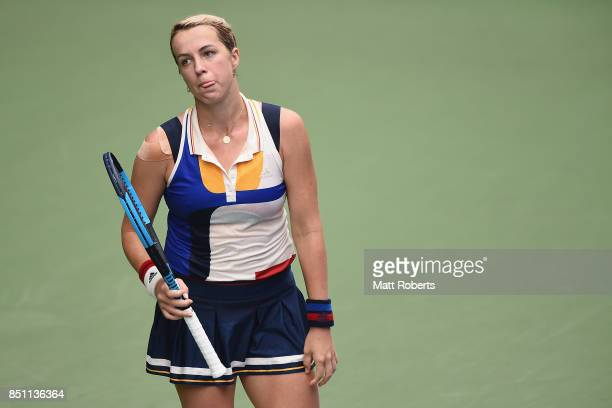 Anastasia Pavlyuchenkova of Russia looks dejected in her quarter final match against Babora Strycova of Czech Republic during day five of the Toray...
