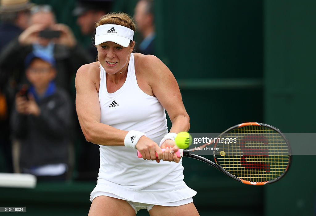 <a gi-track='captionPersonalityLinkClicked' href=/galleries/search?phrase=Anastasia+Pavlyuchenkova&family=editorial&specificpeople=579686 ng-click='$event.stopPropagation()'>Anastasia Pavlyuchenkova</a> of Russia plays a backhand during the Ladies Singles first round match against Su-Wei Hsieh of Taiwan plays a forehand on day two of the Wimbledon Lawn Tennis Championships at the All England Lawn Tennis and Croquet Club on June 28, 2016 in London, England.