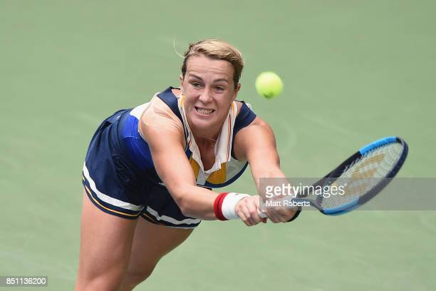 Anastasia Pavlyuchenkova of Russia plays a backhand in her quarter final match against Babora Strycova of Czech Republic during day five of the Toray...