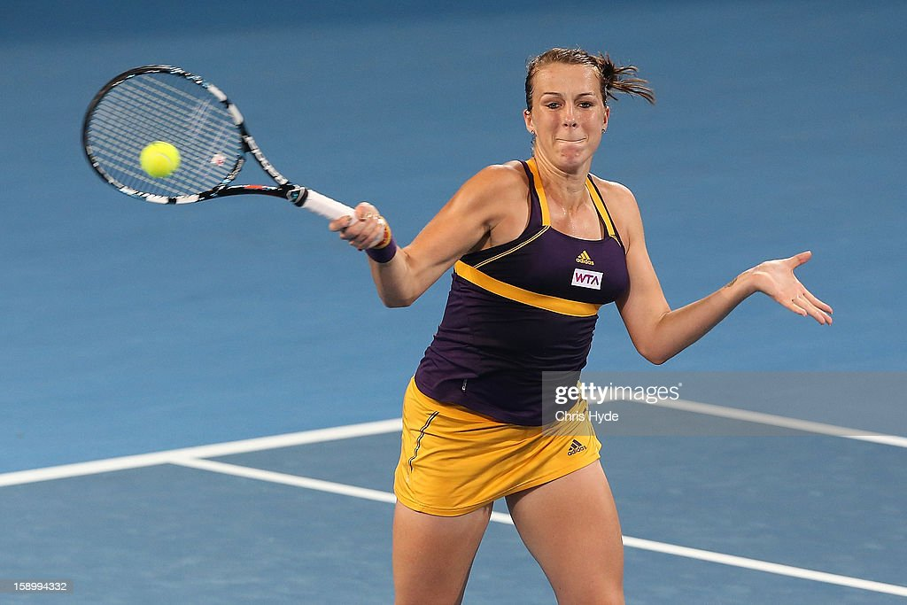 Anastasia Pavlyuchenkova of Russia plays a forehand during her final match against Serena Williams of the United States on day seven of the Brisbane International at Pat Rafter Arena on January 5, 2013 in Brisbane, Australia.