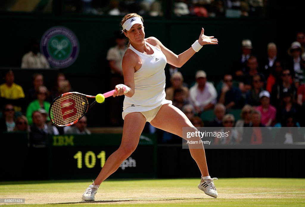 Anastasia Pavlyuchenkova of Russia plays a forehand during the Ladies Singles Quarter Finals match against Serena Williams of The United States on...