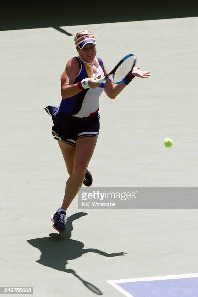 Anastasia Pavlyuchenkova of Russia plays a forehand in her match against Catherine Bellis of the United States during day two of the Toray Pan...