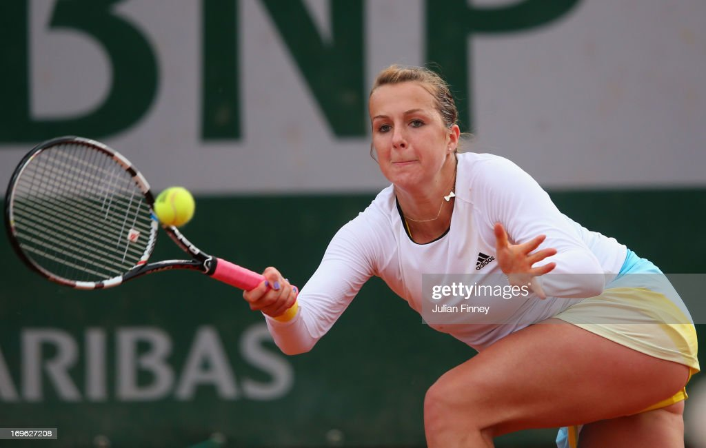 Anastasia Pavlyuchenkova of Russia plays a forehand in her Women's Singles match against Petra Cetkovska of Czech Republic during day four of the...