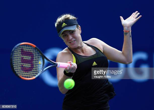 Anastasia Pavlyuchenkova of Russia plays a shot against Karolina Pliskova of Czech Republic during Day 5 of the Rogers Cup at Aviva Centre on August...