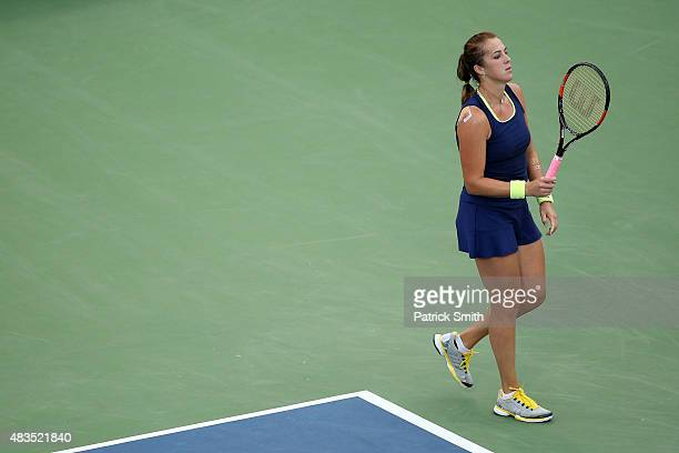 Anastasia Pavlyuchenkova of Russia reacts against Sloane Stephens of the United States in the women's singles final during the Citi Open at Rock...