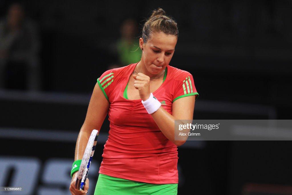 Anastasia Pavlyuchenkova of Russia reacts during her second round match against Vera Zvonareva of Russia at the Porsche Tennis Grand Prix at Porsche...