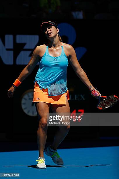 Anastasia Pavlyuchenkova of Russia reacts in her quarterfinal match against Venus Williams of the United State on day nine of the 2017 Australian...