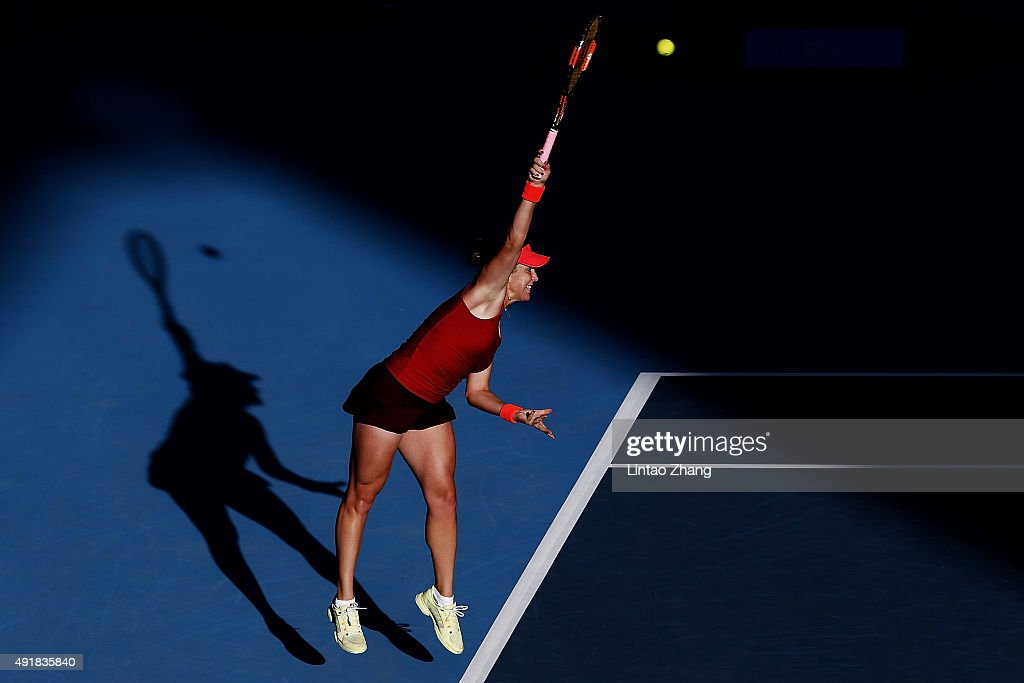 Anastasia Pavlyuchenkova of Russia returns a shot against Flavia Penneta of Italy during the Women's singles Second round match on day six of the 2015 China Open at the China National Tennis Centre on October 8, 2015 in Beijing, China.
