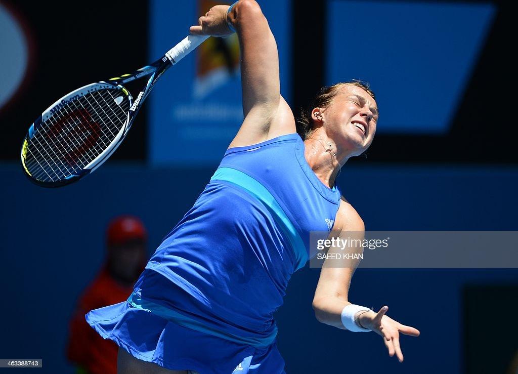 Anastasia Pavlyuchenkova of Russia returns to Agnieszka Radwanska of Poland during their women's singles match on day six of the 2014 Australian Open tennis tournament in Melbourne on January 18, 2014.