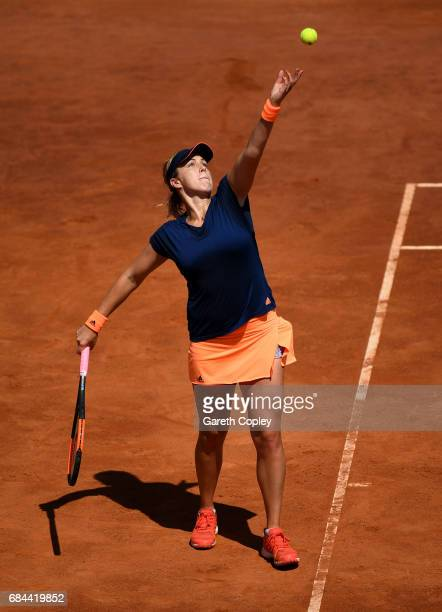 Anastasia Pavlyuchenkova of Russia serves during her 3rd round match against Simona Halep of Romania in The Internazionali BNL d'Italia 2017 at Foro...