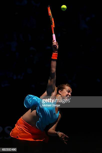 Anastasia Pavlyuchenkova of Russia serves in her fourth round match against Svetlana Kuznetsova of Russia on day seven of the 2017 Australian Open at...