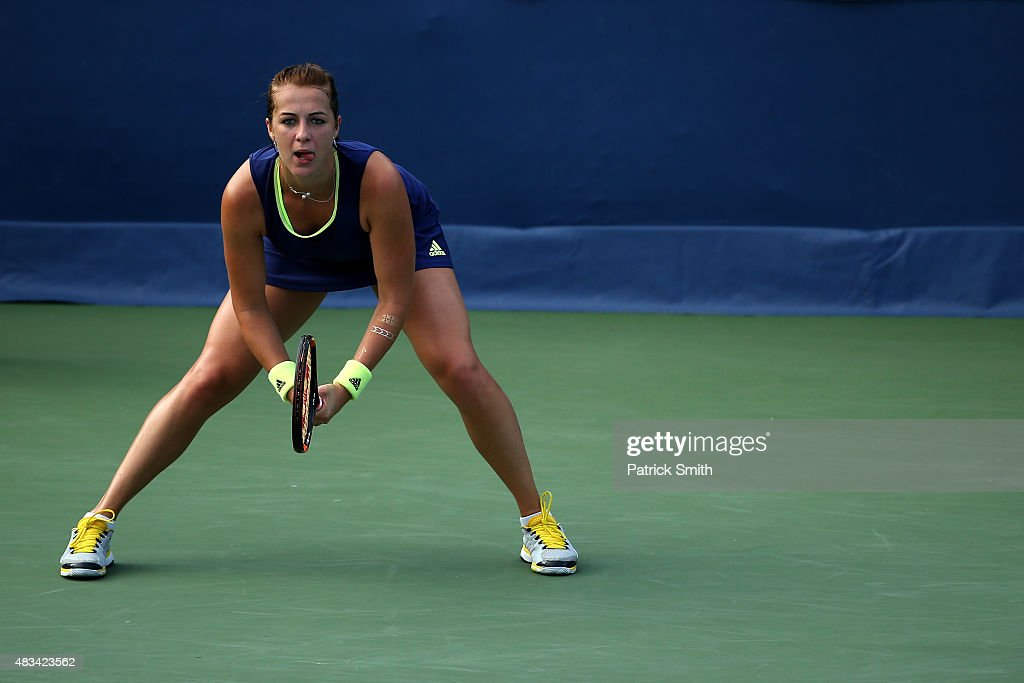 <a gi-track='captionPersonalityLinkClicked' href=/galleries/search?phrase=Anastasia+Pavlyuchenkova&family=editorial&specificpeople=579686 ng-click='$event.stopPropagation()'>Anastasia Pavlyuchenkova</a> of Russia waits to return a shot to Ekaterina Makarova of Russia during the Citi Open at Rock Creek Park Tennis Center on August 8, 2015 in Washington, DC.