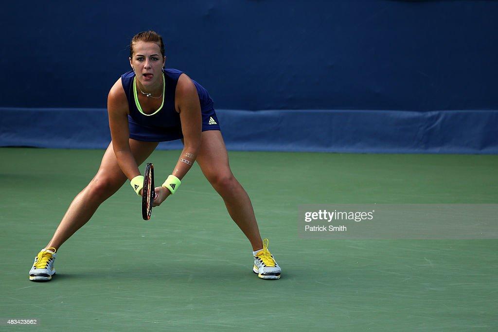 Anastasia Pavlyuchenkova of Russia waits to return a shot to Ekaterina Makarova of Russia during the Citi Open at Rock Creek Park Tennis Center on...