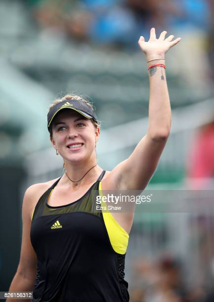 Anastasia Pavlyuchenkova of Russia waves to the crowd after beating Alison Riske of the United States during Day 4 of the Bank of the West Classic at...