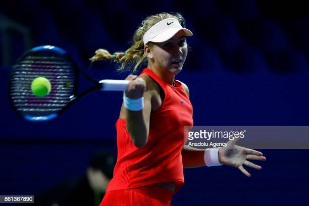 Anastasia Potapova of Russia in action against Arina Rodionova of Australia during the women's singles tennis qualifying match the International...