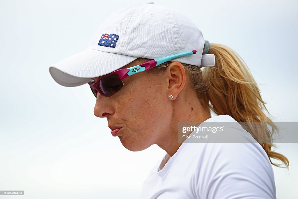 <a gi-track='captionPersonalityLinkClicked' href=/galleries/search?phrase=Anastasia+Rodionova&family=editorial&specificpeople=5407492 ng-click='$event.stopPropagation()'>Anastasia Rodionova</a> of Australia looks on during the ladies doubles first round match against Yi-Fan Xu of China and Saisai Zheng of China on day four of the Wimbledon Lawn Tennis Championships at the All England Lawn Tennis and Croquet Club on June 30, 2016 in London, England.