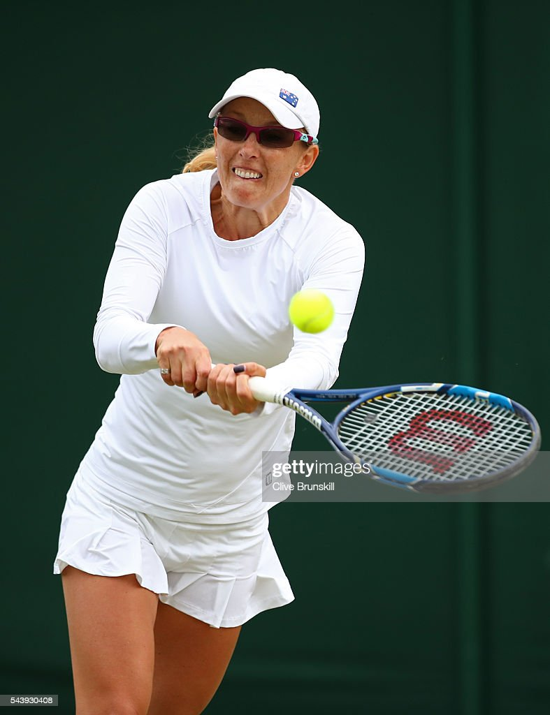<a gi-track='captionPersonalityLinkClicked' href=/galleries/search?phrase=Anastasia+Rodionova&family=editorial&specificpeople=5407492 ng-click='$event.stopPropagation()'>Anastasia Rodionova</a> of Australia plays a backhand during the ladies doubles first round match against Yi-Fan Xu of China and Saisai Zheng of China on day four of the Wimbledon Lawn Tennis Championships at the All England Lawn Tennis and Croquet Club on June 30, 2016 in London, England.