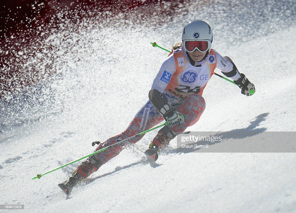 Anastasia Romanova of Russia competes in the Ladies' Giant Slalom at Rosa Khutor Alpine Center on March 14, 2013 in Sochi, Russia.