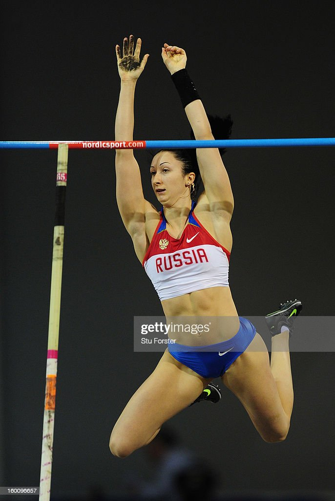 Anastasia Savchenko of Russia in action during the Womens Pole Vault during the British Athletics International Match at the Emirates Arena on January 26, 2013 in Glasgow, Scotland.