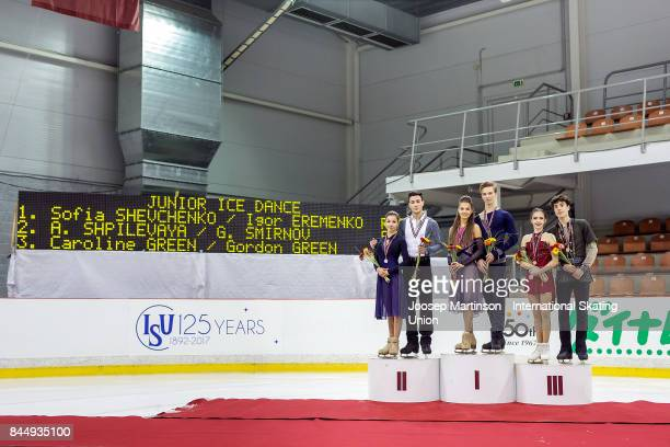 Anastasia Shpilevaya and Grigory Smirnov Sofia Shevchenko and Igor Eremenko of Russia Caroline Green and Gordon Green of the United States pose in...