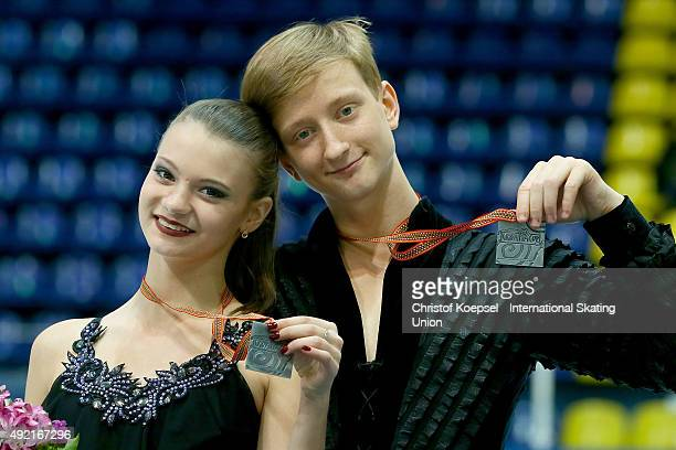 Anastasia Skoptcova and Kirill Aleshin of Russia present their silver medals during the medal ceremony of the junior ice short dance of the ISU...