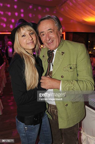 Anastasia Sokol and Richard Lugner attend the 'Schnitzelessen Party' at Rosis Sonnenbergstuben on January 23 2010 in Kitzbuehel Austria