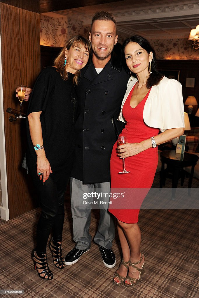Anastasia Webster, Calum Best and <a gi-track='captionPersonalityLinkClicked' href=/galleries/search?phrase=Yasmin+Mills&family=editorial&specificpeople=226690 ng-click='$event.stopPropagation()'>Yasmin Mills</a> attend a private dinner previewing the new 'Alex James Presents' Blue Monday cheese at The Cadogan Hotel on June 11, 2013 in London, England.