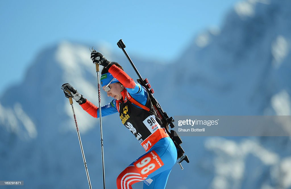 Anastasia Zagoruiko of Russia competes in the Women's 15km Individual Event during the E. ON IBU Biathlon World Cup at the 'Laura' Biathlon & Ski Complex on March 7, 2013 in Sochi, Russia.