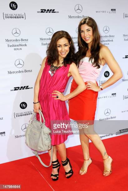 Anastasia Zampounidis and Alexandra Polzin arrive for the Minx By Eva Lux Show at MercedesBenz Fashion Week Spring/Summer 2013 on July 7 2012 in...