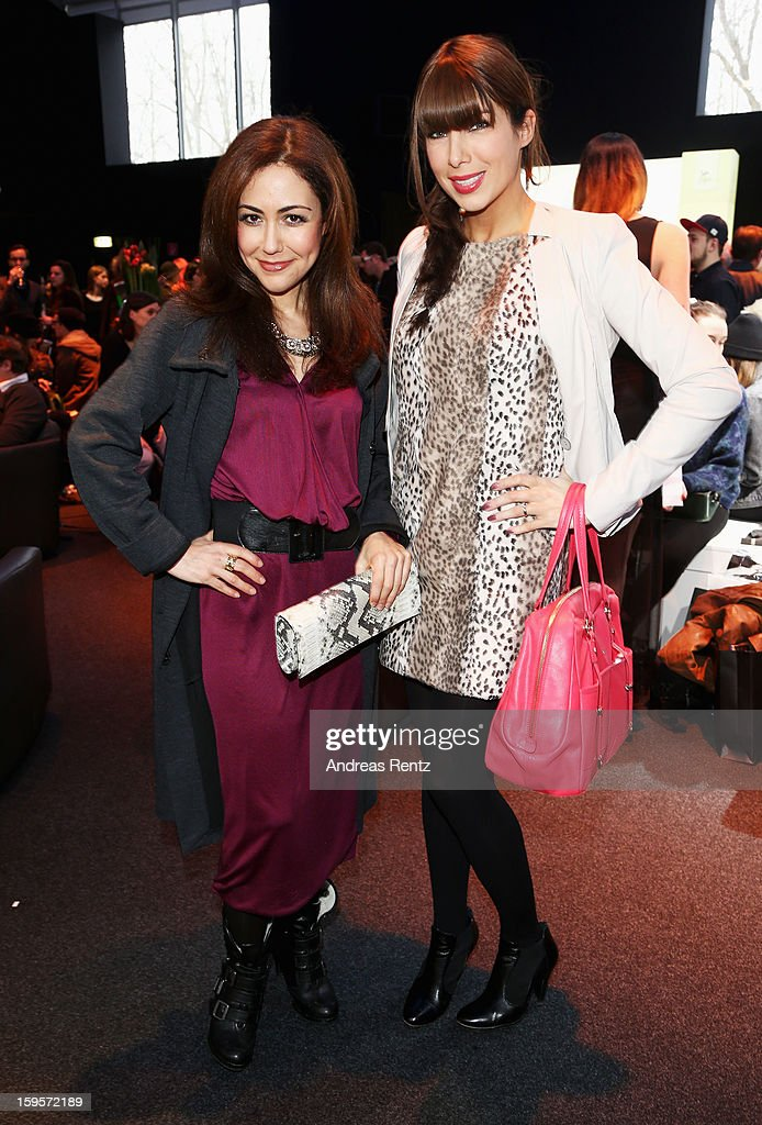 Anastasia Zampounidis and Alexandra Polzin attend Dimitri Autumn/Winter 2013/14 fashion show during Mercedes-Benz Fashion Week Berlin at Brandenburg Gate on January 16, 2013 in Berlin, Germany.