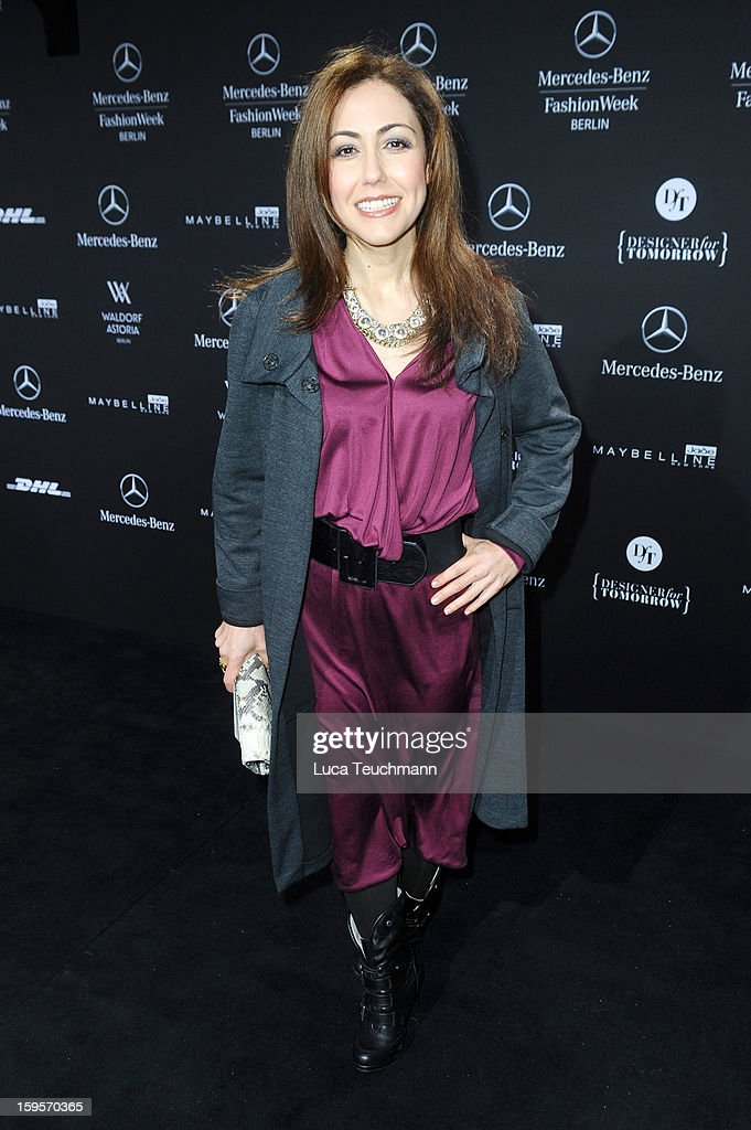 Anastasia Zampounidis attends Dimitri Autumn/Winter 2013/14 fashion show during Mercedes-Benz Fashion Week Berlin at Brandenburg Gate on January 16, 2013 in Berlin, Germany.