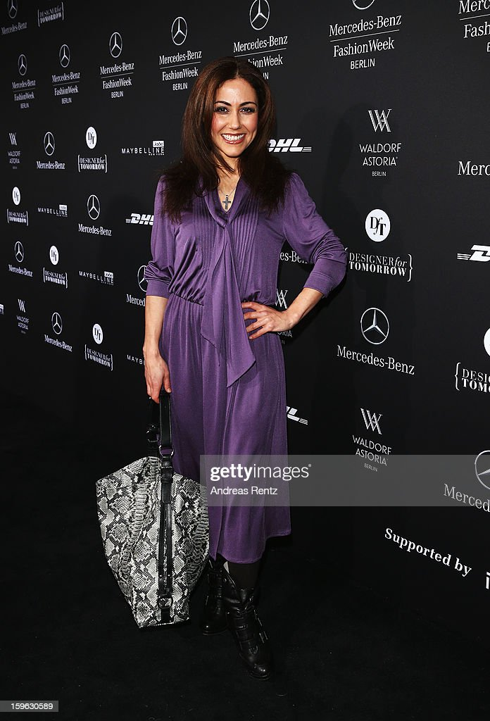 Anastasia Zampounidis attends Guido Maria Kretschmer Autumn/Winter 2013/14 fashion show during Mercedes-Benz Fashion Week Berlin at Brandenburg Gate on January 17, 2013 in Berlin, Germany.