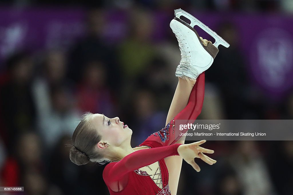 Anastasiia Gubanova of Russia competes during Junior Ladies Free Skating on day two of the ISU Junior and Senior Grand Prix of Figure Skating Final at Palais Omnisports on December 9, 2016 in Marseille, France.