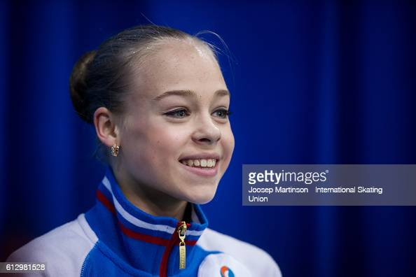 Anastasiia Gubanova of Russia looks on at the kiss and cry during the Junior Ladies Short Program on day one of the ISU Junior Grand Prix of Figure...