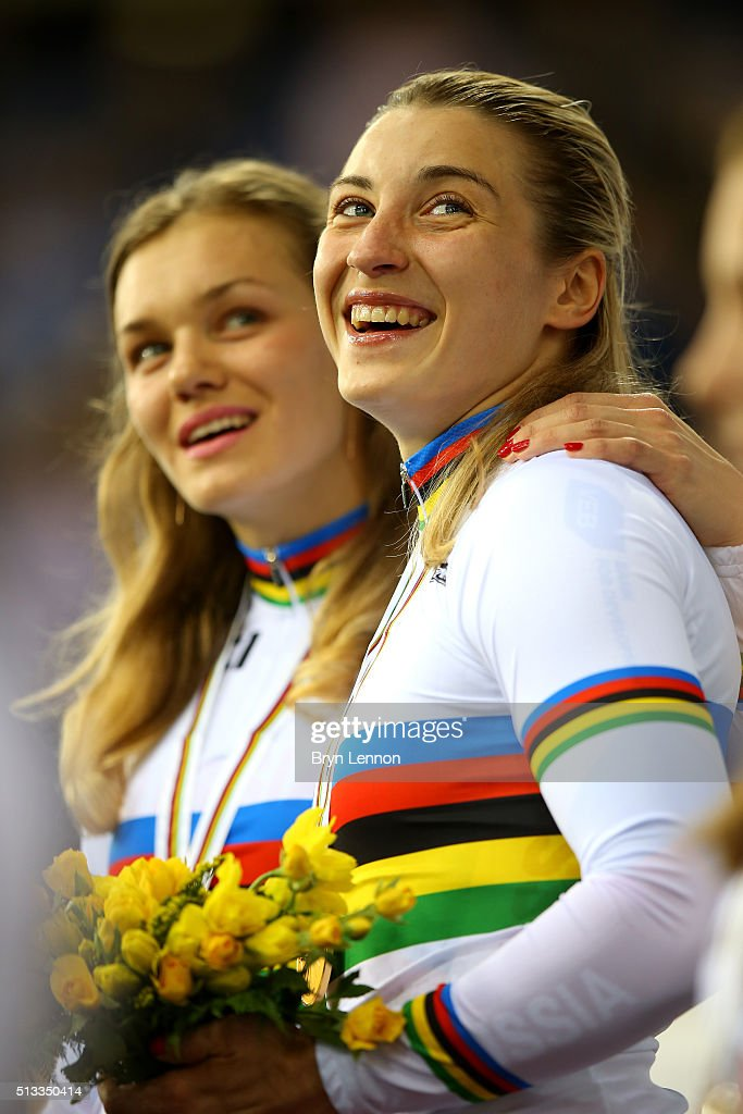 Anastasiia Voinova (L) and Daria Shmeleva (R) of Russia celebrate winning the gold medal in the Womens team sprint race during the UCI Track Cycling World Championships at Lee Valley Velopark Velodrome on March 2, 2016 in London, England.