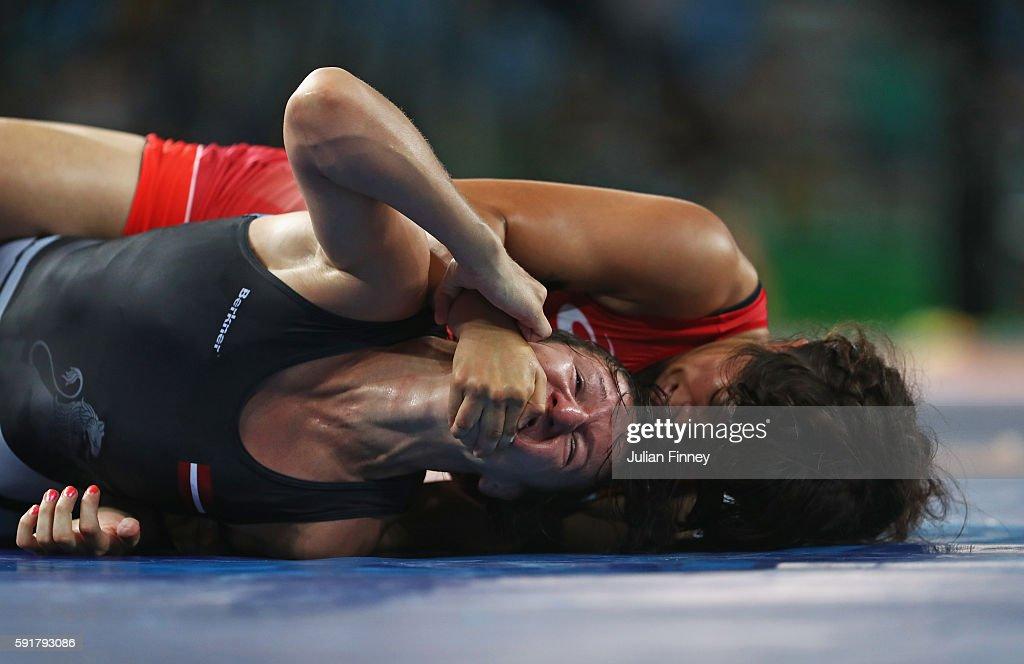 Anastasija Grigorjeva of Latvia competes against Risako Kawai of Japan during the Women's Freestyle 63 kg Quarterfinals on Day 13 of the Rio 2016...