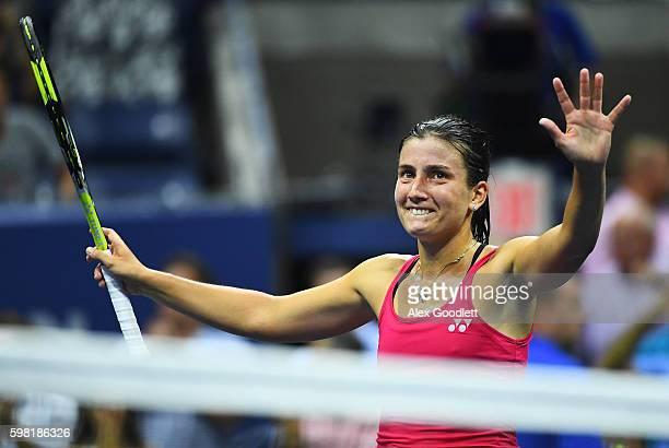 Anastasija Sevastova of Lativa celebrates defeating Garbine Muguruza of Spain during her second round Women's Singles match on Day Three of the 2016...