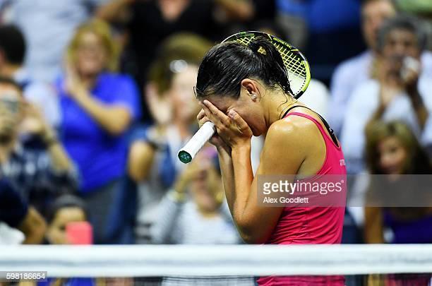 Anastasija Sevastova of Lativa celebrates her victory over Garbine Muguruza of Spain during her second round Women's Singles match on Day Three of...