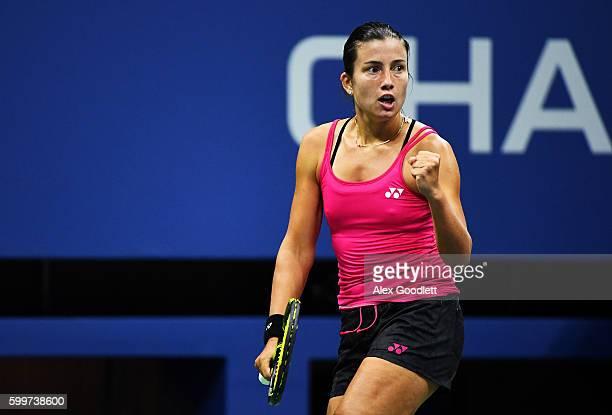 Anastasija Sevastova of Lativa reacts against Caroline Wozniacki of Denmark during their Women's Singles Quarterfinals matchon Day Nine of the 2016...