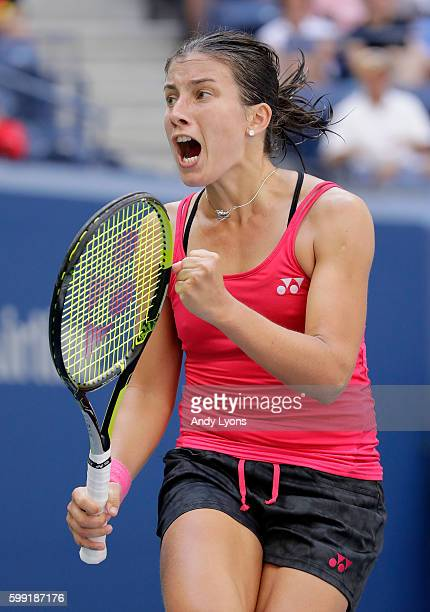 Anastasija Sevastova of Lativa reacts against Johanna Konta of the United Kingdom during her fourth round Women's Singles match on Day Seven of the...