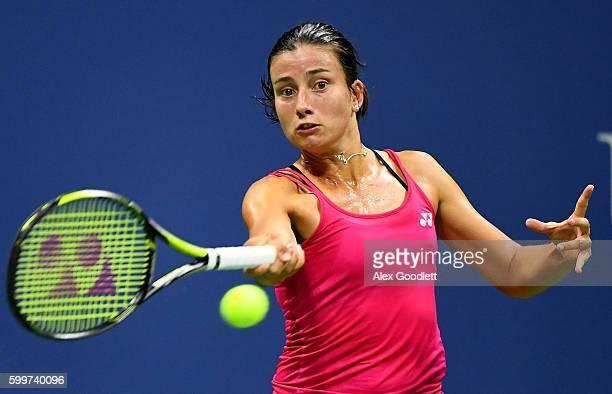 Anastasija Sevastova of Lativa returns a shot to Caroline Wozniacki of Denmark during their Women's Singles Quarterfinals matchon Day Nine of the...