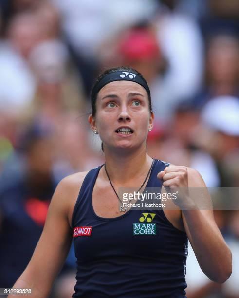 Anastasija Sevastova of Latvia celebrates her women's singles fourth round match victory over Maria Sharapova of Russia on Day Seven of the 2017 US...