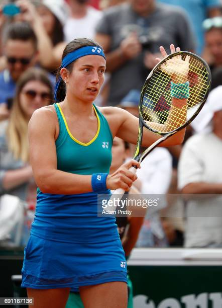Anastasija Sevastova of Latvia celebrates victory during the ladies singles second round match against Eugenie Bouchard of Canada on day five of the...