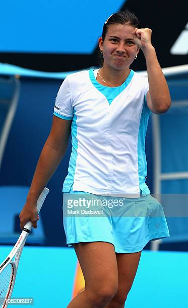 Anastasija Sevastova of Latvia celebrates winning her third round match against Vesna Manasieva of Russia during day five of the 2011 Australian Open...